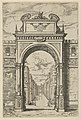 Triumphal arch surmounted by a statue of Moses, buildings seen through the arch below, a temporary decoration for the entry of Pope Clement VIII in Bologna in 1598 MET DP837823.jpg