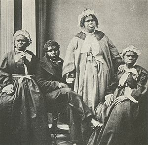 Aboriginal Tasmanians - A picture of the last four Tasmanian Aborigines of solely indigenous descent c. 1860s. Truganini, the last to survive, is seated at far right.