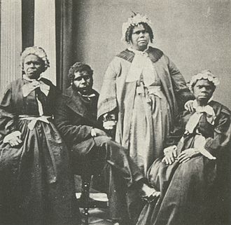 Aboriginal Tasmanians - A picture of the last four Tasmanian Aborigines of solely Aboriginal descent c. 1860s. Truganini, the last to survive, is seated at far right.