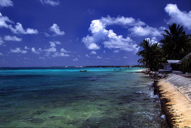 Atoll beach at Tuvalu