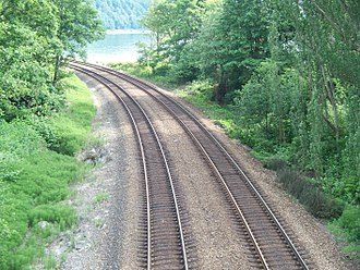 Double-track railway - A double-track railway line running through a wooded area.