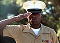"U.S. Marine Corps Sgt. Nathaniel Fowler, with Forward Coordination Element, Marine Rotational Force - Darwin, salutes as ""Last Post"" sounds at the USS Peary monument in Darwin, Australia, May 3, 2013, where 130503-M-AL626-0132.jpg"