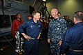 U.S. Navy Vice Adm. Scott H. Swift, center right, the commander of the U.S. 7th Fleet, exchanges greetings with Capt. Patrick Kelly aboard the guided missile cruiser USS Chosin (CG 65) during a ship visit 130528-N-GR655-061.jpg