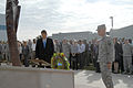 U.S. Service members and civilians with the North American Aerospace Defense Command (NORAD) and U.S. Northern Command (USNORTHCOM) watch as Don Addy, left, the chairman of the Colorado 30 Group, and Army Maj 120911-F-YC127-049.jpg