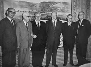 Paul H. Appleby - A retired Paul Appleby (second from the right) at a USDA lecture series in 1961.