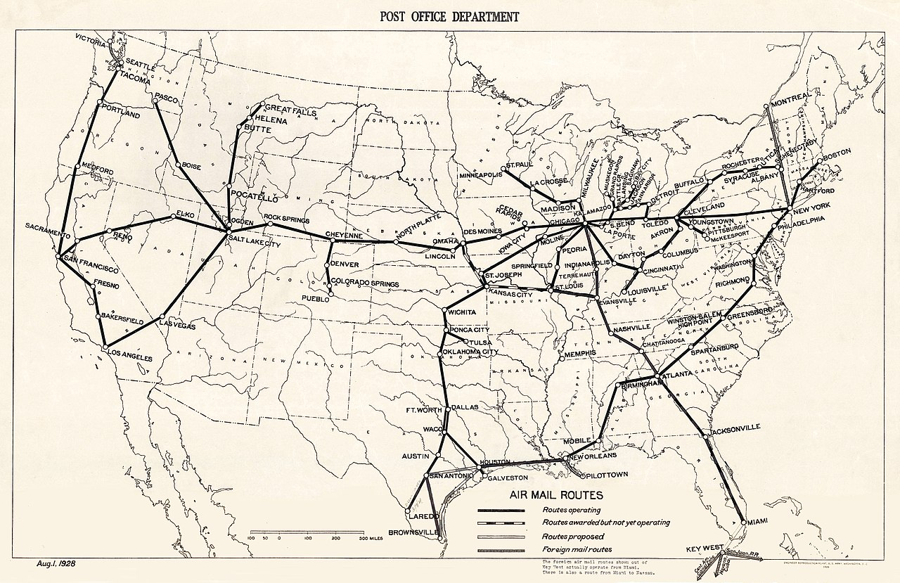 File:USPOD 1928 air mail route map.jpg - Wikimedia Commons on