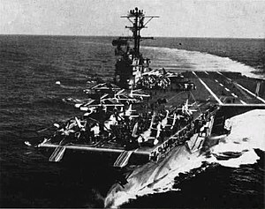 Forrestal-class aircraft carrier - Image: USS Forrestal CVA 59 with British planes 1962