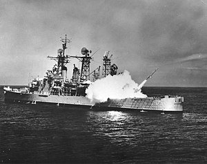 USS Springfield (CL-66) - Springfield fires a Terrier missile, 1961.