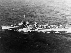 USS Twiggs (DD-591), in camouflage paint, 23 February 1945.