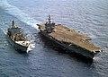 US Navy 030516-N-6259P-004 The USS Enterprise (CVN 65) steams alongside the Military Sealift Command Fast Combat Support Ship USNS Leroy Grumman (T-AO 195) during an underway replenishment (UNREP).jpg