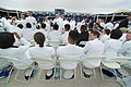 US Navy 040528-N-2383B-049 Midshipmen congratulate one another during the U.S. Naval Academy Class of 2004 Graduation and Commissioning Ceremony.jpg