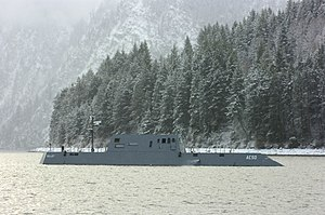 Lake Pend Oreille - The Advanced Electric Ship Demonstrator (AESD) undergoes sea trials on Lake Pend Oreille at the Naval Surface Warfare Center