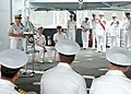 US Navy 070404-N-8560S-003 French Navy Rear Adm. Alain Hinden addresses service members and guests during a change of control ceremony aboard French Afloat Support Ship (FS) Somme (A 631).jpg