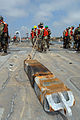 US Navy 080725-N-3038W-082 Sailors assigned to Amphibious Construction Battalion (ACB) 1 perform maintenance on part of the improved navy lighterage system (INLS) during Joint Logistics Over-The-Shore (JLOTS) 2008.jpg