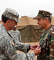 US Navy 080801-N-4973M-052 Brig. Gen. Mark MacCorley, deputy commander of Joint Task Force (JTF) 8, awards the Meritorious Service Medal to Capt. Thomas Weatherald, commander of Joint Logistics Over-The-Shore (JLOTS) 2008.jpg