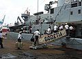 US Navy 100301-N-6138K-249 Congolese navy students embark the Belgian navy command and logistical support ship BNS Godetia (A 960).jpg