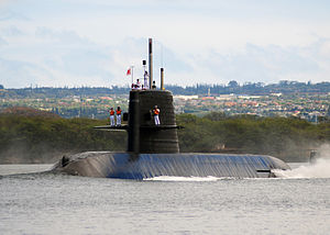 Oyashio-class submarine - Image: US Navy 100706 N 6854D 128 JS Mochisio (SS 600) departs Joint Base Pearl Harbor Hickam to support Rim of the Pacific (RIMPAC) 2010 exercises