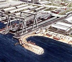 Black Sea Shipyard - An artist's impression of the aircraft carrier ''Ulyanovsk'' under construction