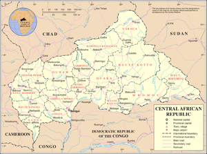 Geography of the Central African Republic - A United Nations map of the Central African Republic