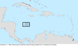 Map of the change to the United States in the Caribbean Sea on December 11, 1868