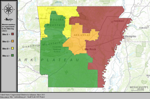 United States Congressional Districts in Arkansas, since 2013.tif