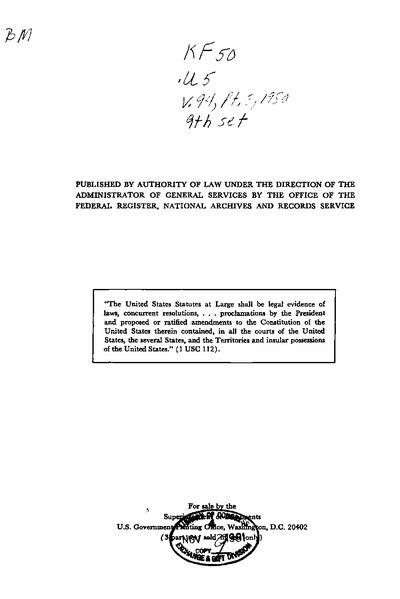 File:United States Statutes at Large Volume 94 Part 3.djvu