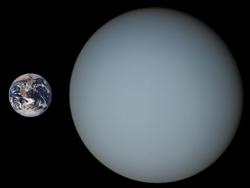 Gréissteverglach tëscht Äerd (lénks) an Uranus