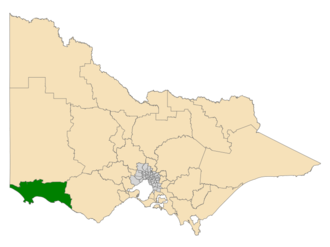 Electoral district of South-West Coast - Location of South-West Coast (dark green) in Victoria