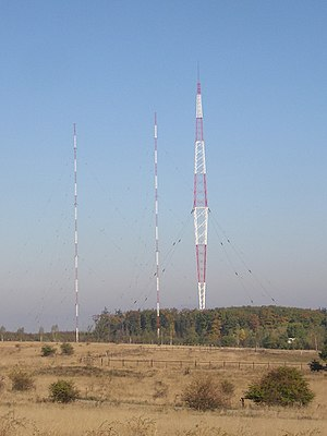 Telecommunications in Bulgaria - Blaw-Knox tower and two mast antennae, Vakarel radio transmitter