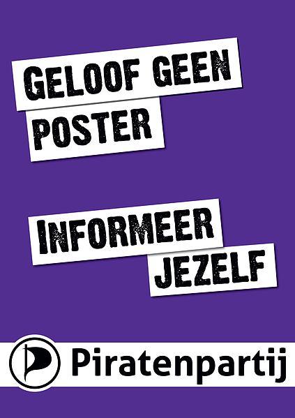 Poster der Piratenpartei der Niederlande