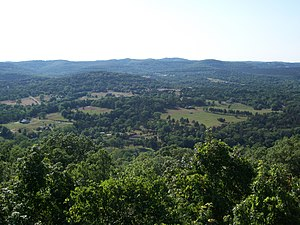 Geography of Arkansas - View from scenic overlook in Carroll County in the heart of the Ozarks.