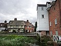View towards the Abbey from Abbey Mill, Tewkesbury - geograph.org.uk - 1729104.jpg