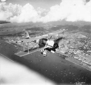 No. 36 Squadron RAF - Vickers Vildebeest Mk III of No. 36 Squadron in flight over Singapore. 22 September 1936