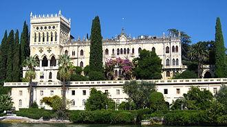 Isola del Garda - The Venetian neogothic Villa Borghese Cavazza.