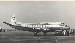 Vickers Viscount - Viscount 700 prototype G-AMAV as competitor No. 23 in the NZ Air Race at London Airport, 8 October 1953