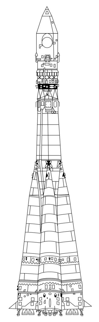 Vostok (rocket family) - Image: Vostok rocket drawing