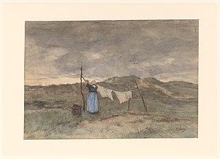 Femme à la corde à linge dans les dunes