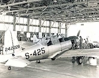 Pinal Airpark - Vultee BT-13 Valiant in hangar at Marana AAF