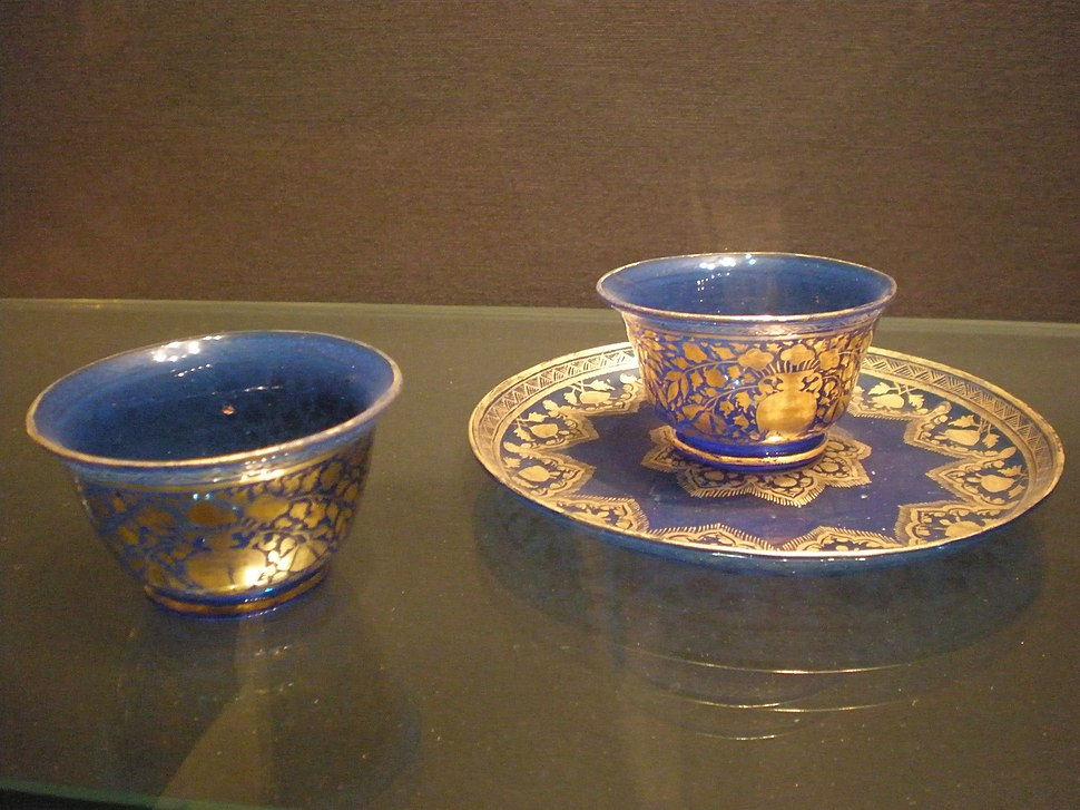 WLA vanda Mughal Two cups Cobalt Blue Glass with gilt floral decoration