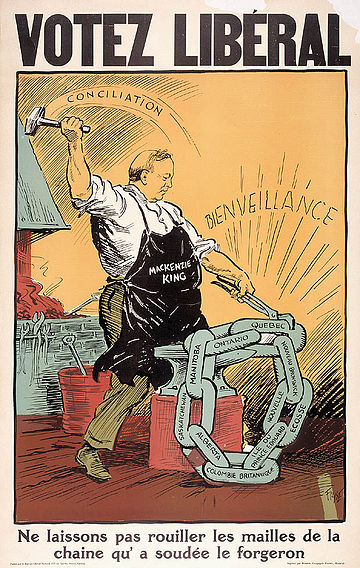 Liberal election poster in French, showing King forging a chain link. WLMK hammer and tongs Votez Liberal poster 1930.jpg