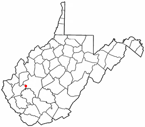 Alum Creek, West Virginia - Image: WV Map doton Alum Creek