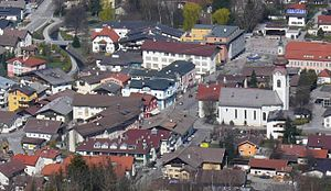 Wattens - Main square with St Lawrence Church