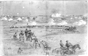 Battle of the Crater - Sketch of the explosion seen from the Union line.
