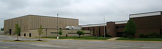 Wentzville Holt High School - View of Holt High School from the South, with main gymnasium to the left and C.H. Jones Auditorium to the right
