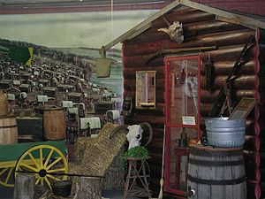 Museum of World Treasures - A frontier log cabin diorama