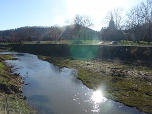 Weston, West Virginia - West Fork River - former state hospital in background