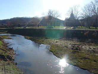 Weston, West Virginia - West Fork River - former state hospital in background