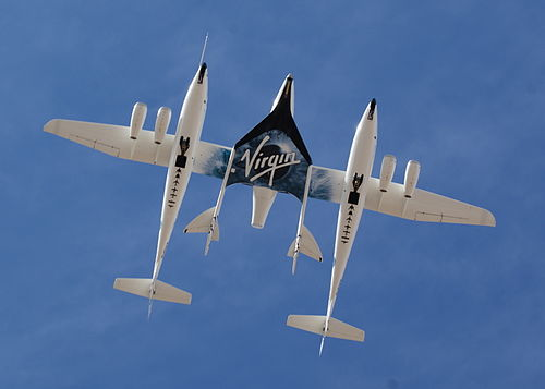 White Knight Two and SpaceShipTwo from directly below