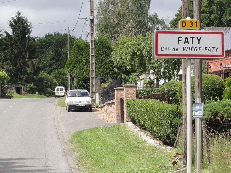 Wiège-Faty (Aisne) city limit sign Faty