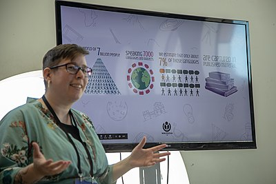 Delphine Dallison presenting at Mozfest in October.